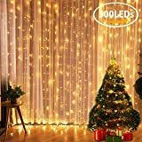 Tenda Luminosa FLY5D 300 LED Catena Luci Interno 3x3metri Luci Stringa Impermeabile Luci LED Natale Esterno con 8 Effetti Luci Decorative per Natale...