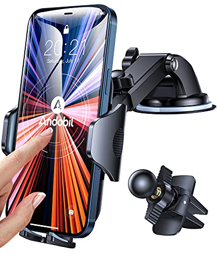 [Holder Leader] Andobil Universal Car Phone Mount, [Ultra-Stable & Never Fall] Hands-Free Phone Holder for Car Dashboard Air Vent Windshield Compatible with iPhone Samsung Galaxy All Phones & Cars