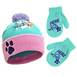Nickelodeon Winter Hat, Kids Gloves or Toddlers, Paw Patrol Skye Baby Beanie for Boy GirlAges, Green Design, Mittens-Age 2-4