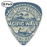 Guitar Picks12pcs Plectrum (0.46mm-0.96mm), Pacific Waves Surf Camp School Hawaii Logo Motif Artsy Effects Design,For Your Guitar or Ukulele