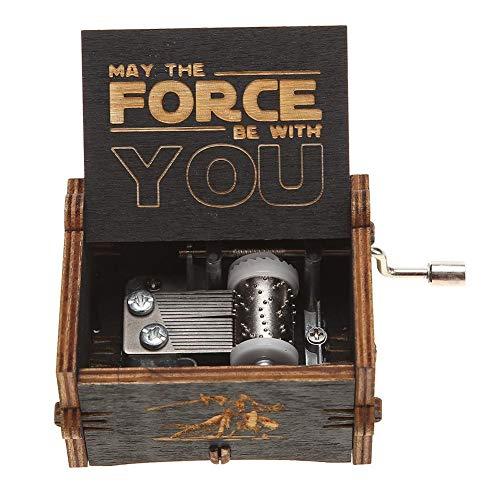 LinHut Caja de música de madera de Star Wars, caja de música de manivela grabada a mano, regalos de cumpleaños para niños