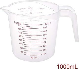 Youool Jarra Vaso medidora plastico1000ml transparente 4 Cups Contenedor de taza medidora Jarra graduada con agarre, para cocinar Ladridos Laboratorio de cocina