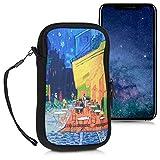 kwmobile Custodia in Neoprene con Zip per Smartphone M - 5,5' - Astuccio portacellulare a Sacchetto con Cerniera - Borsa Verticale - Blu/Giallo/Arancione