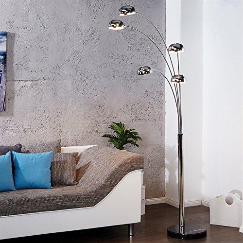 Retro Design Klassiker STEHLAMPE Lampe Five Fingers Space Lounge leuchte Silber mit Fuß in schwarz