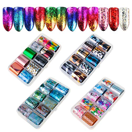 Rubywoo&chili 40 Farbe Nail Art Transferfolie, Mirror Holographic Nail Foil Nail Stickers Transfer Foil Manicure Decoration DIY Design (4 Box / 40 Pieces)