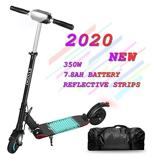 Scooter eléctrico para adultos, KUGOO S1 PRO Ligero plegable con pantalla LCD, batería máxima de 30 km de largo alcance, motor de 350 W Súper resistente a los golpes Neumáticos de 8 pulgadas (Negro)