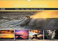 Sunsets of Hawaii (Wandkalender 2022 DIN A3 quer): Sonnenuntergaenge auf Hawaii - Postkarten-Motive auf jeder Hawaii-Insel. (Monatskalender, 14 Seiten )