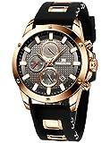 Relojes Hombre Reloj de Hombres Militar Cronógrafo Luminosa Impermeable Deportivo Reloj de Cuarzo Analógico de Goma Gran Día Reloj de Diseñador Vestido Negro