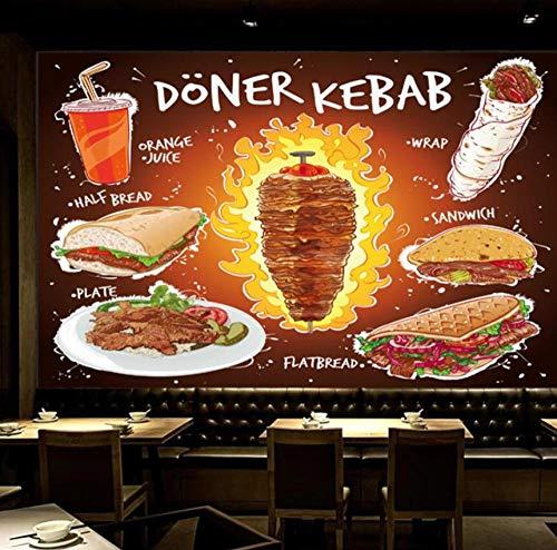 Hand 3D Kebab Fladenbrot Sandwich Teller mit Orangensaft Wandtapete Fast Food Restaurant Tapete 3D-250 * 175cm