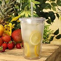 Doble pared Copas de plástico 16 oz / 470 ml por bar@drinkstuff - Pack de 2 | Copas SAN plástico con tapa y paja, plástico Vasos
