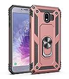 JMstore Funda Compatible con Samsung Galaxy J730/J7 (2017) Anillo Soporte[Funciona con El Montaje Coche Magnético]+Protectores Pantalla(Rose Oro)