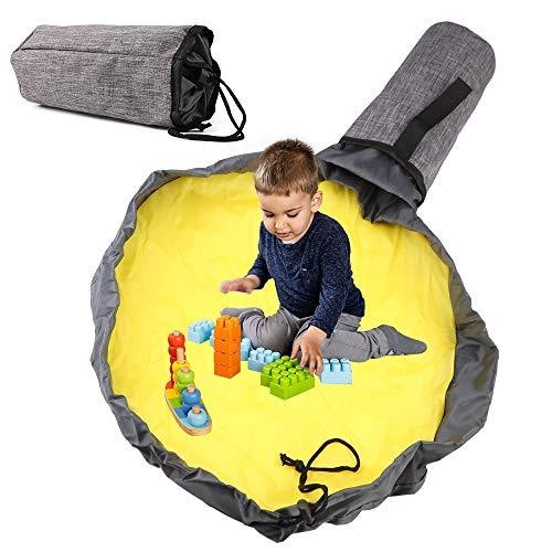 Sylanda Saco de juguetes, bolsa de almacenamiento, organizador de bolsillos, alfombra de juguete para niños, saco de limpieza para juguetes, tamaño grande 48 x 48 cm, para una limpieza más rápida