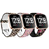 Maledan Compatible for Fitbit Versa/Fitbit Versa Lite SE/Fitbit Versa 2 Bands 3 Pack Silicone Wristband Fadeless Pattern Printed Strap, Leopard/Magic Cloud/Pink Floral, Large