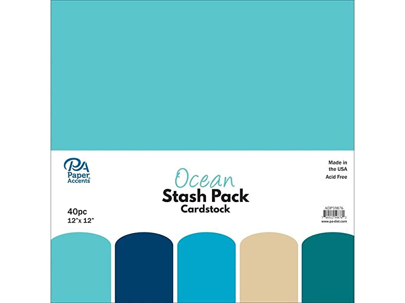 Paper Accents 40pc Stash Pack 12x12 Ocean