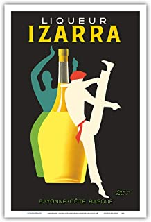 Liqueur Izarra - Bayonne, Cote Basque (Basque Country) - Gerriko Dancer - Vintage Advertising Poster by Paul Colin c.1948 - Master Art Print 12in x 18in