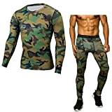 Pandodut Men Compression Running Jogging Sportswear Long T Shirt/Leggings Gym Fitness Tight Elasticity Sports Suit Clothing 2Pcs/Sets 6 XXL