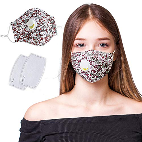 Cloth Face Mask Reusable, Face Masks Washable with Breathing Valve, Adjustable Cute Dust Mask Face Covering with 2PC PM2.5 Carbon Filters for Women Girls Working Out