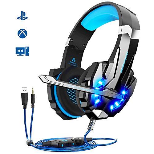 【Auriculares Gaming de Alta Calidad】Mic Stereo Bass LED Light para gaming,Las luces LED están diseñados evidentes en los orejeros y el micrófono, destacando la atmósfera del juego. Tiene un cable trenzado de 2,1 metros. Botones incoporados al cable p...