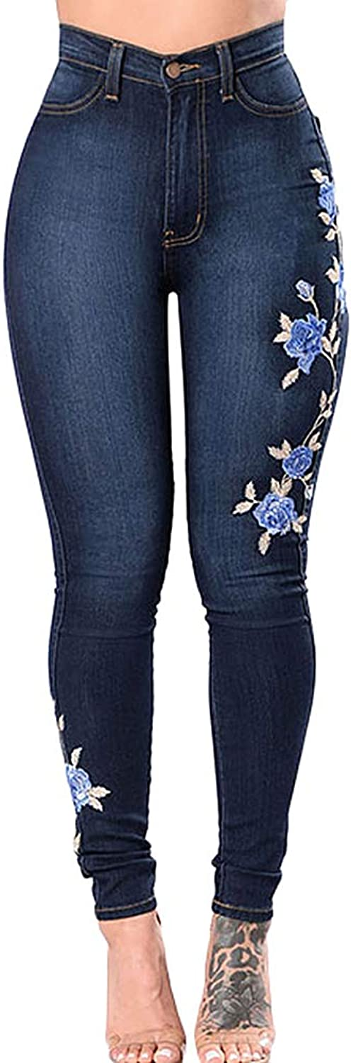 Absolufun Womens Sext Stretch High Waist Floral Embroidered Long Skinny Denim Jeans