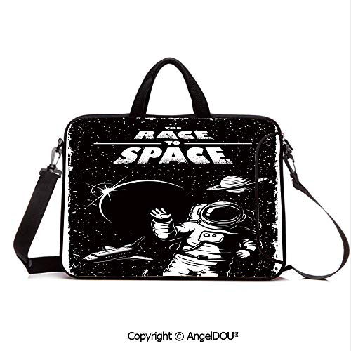 AngelDOU Laptop Sleeve Notebook Bag Case Messenger Shoulder Laptop Bag The Race to Space Retro Image with Space Crafts Planets Astronaut vs Cosmonauts Compatible with MacBook HP Dell Lenovo Black Wh