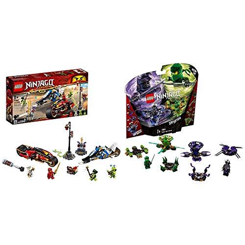 LEGO Ninjago - Moto Acuchilladora de Kai y Motonieve de Zane + Ninjago Spinjitzu Lloyd vs. Garmadon - Peonzas de Ninjas de Juguete, Color Verde y Morada (70664) , Color/Modelo Surtido