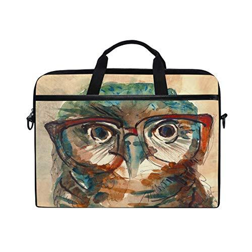 Schultertasche, Eule mit großen Augen in Hipster-Brille, Laptop-Tasche, Reise-Aktentasche für Herren und Damen, Business, tragbare Tragetasche, Computer, Laptop, Handtasche für Notebook, Tablet