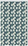 ABAKUHAUS Elfenbein & Blau Schmaler Duschvorhang, Garten-Kunst-Bouquet, Badezimmer Deko Set aus Stoff mit Haken, 120 x 180 cm, Dunkel Meergrün