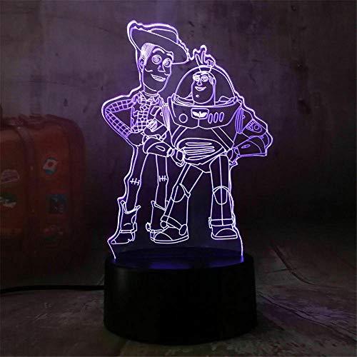 3D Night Light Toy Story 3D Lámpara de ilusión óptica de 16 colores cambio decoración lámpara – Regalos para niños y habitación decoración