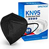 KN95 Face Masks Black 60 PCS KN95 Mask Protection Individually Wrapped Cup Masks Breathable 5-Layer Filter Efficiency≥95% Disposable Certified KN95 Respirator Masks in Bulk
