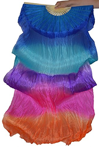 Tanzbekleidung & Accessories Schleierfächer Tanz Fächer Fächerschleier Seidenfächer Flügel Bauchtanz 1 Paar Bunt