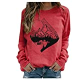 Holzkary Women's Fashion Print Pullover Lightweight Long Sleeve Round Neck Sweatshirts Tops Blouse(XL.Red-1)