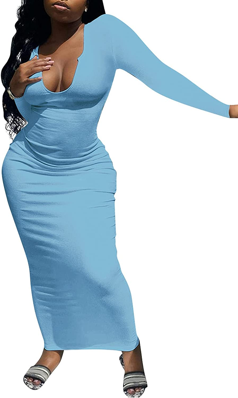 GLIENST Women's Sexy Slit Scoop Neck Ottoman Rib Club Long Sleeve Casual Basic Long Bodycon Maxi Dress Tight Dresses