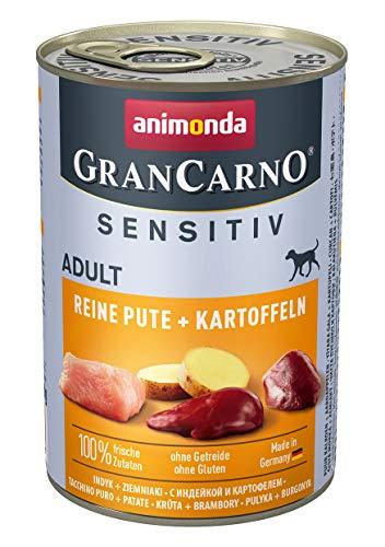 animonda GranCarno Hundefutter Adult Sensitiv, Nassfutter für ausgewachsene Hunde, Reine Pute + Kartoffeln, 6 x 400 g