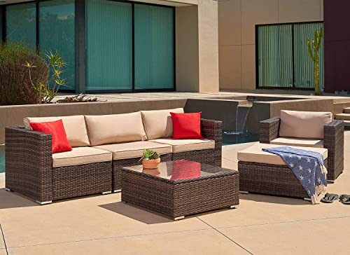 Suncrown Outdoor Patio Furniture Sectional Sofa and Chair