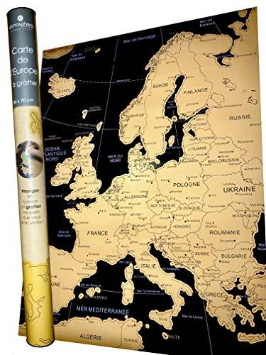 RUBBELKARTE Europa Karte Wand Poster HOCHWERTIGE große Landkarte zum rubbeln Perfektes Reisegeschenk Carte de l'Europe a gratter 54 x 70 cm Reisekarte Geschenk ZUM FREIRUBBELN Fernweh atmosphera