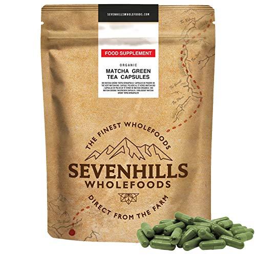 Sevenhills Wholefoods Matcha Organica Cápsulas en polvo de té verde 500mg x 120