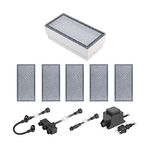 ledscom.de LED Pflaster-Stein Gorgon Boden-Einbauleuchte für außen, 20x10cm, 12V, kalt-weiß 6er Set