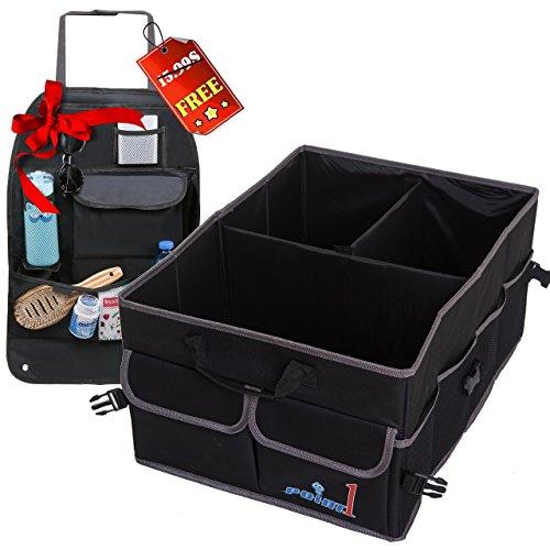 Trunk Organizer for Car, Heavy Duty Cargo Storage Bag, Non-Slip Bottom Strips to Prevent Sliding, For Car SUV, Truck, Incl Bonus Backseat Organizer