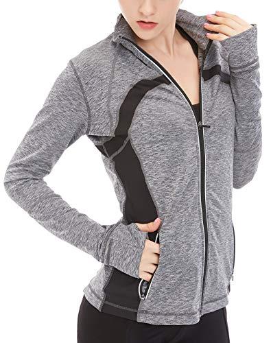icyzone Sport Jacke Damen Langarm Shirt - Trainingsjacke voll Reißverschluss Laufshirt mit Daumenloch und Seitentasche (Gray Melange, M)
