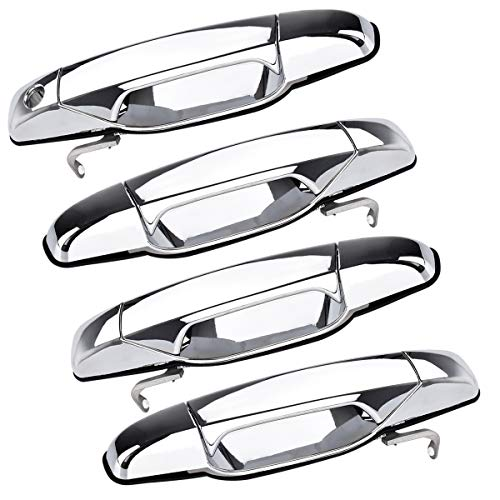 FAERSI Outside Exterior Door Handle Replacement for Cadillac Escalade Chevrolet Silverado GMC Sierra Yukon Pickup Truck SUV 2007 2008 2009 2010 2011 2012 2013 (4pcs Front Rear Driver & Passenger Side)