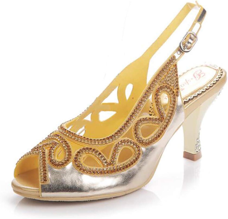 Women's Diamante Open Toe Casual Evening Wedding Party Prom Block Heel Sandals Slipper