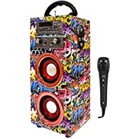 Music Life Altavoz Karaoke Bluetooth Portátil con Micrófono Inlámbrico USB Tarjeta TF Recargable con Radio FM (449-1)