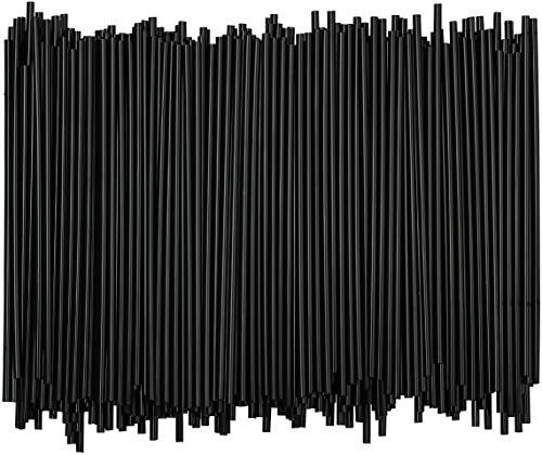 Disposable Plastic Coffee Stirrer Straw - 5 Inch Sip Stir Stick (Black, 1,000)