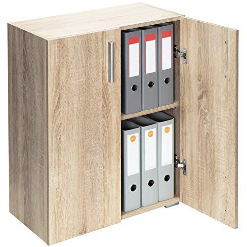 Deuba Mueble 'Vela' Roble Armario con 2 Puertas y 2 estantes versatil almacenaje salón Oficina Libros Biblioteca