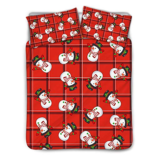ZXXFR Duvet Cover Set Printed Red plaid cartoon christmas snowman,Bedding Quilt Cover Soft Breathable for Girls Boys 3 Pieces (1 Duvet Cover + 2 Pillow cases)-140x200CM
