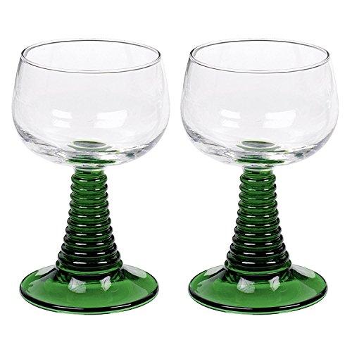Arcoroc 01382 Weinrömer Römerglas mit grünem Fuß, 250ml, Stück:2 Stück