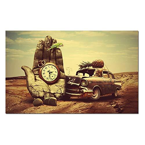 YANGMENGDAN Druck auf Leinwand Wanddekoration Klassische Kunst Salvador Dali Hand, Uhr, Auto, Ananas, Papagei Drucke Poster Wandkunst Für Wohnzimmer 60x90cm x1pcs Kein Rahmen