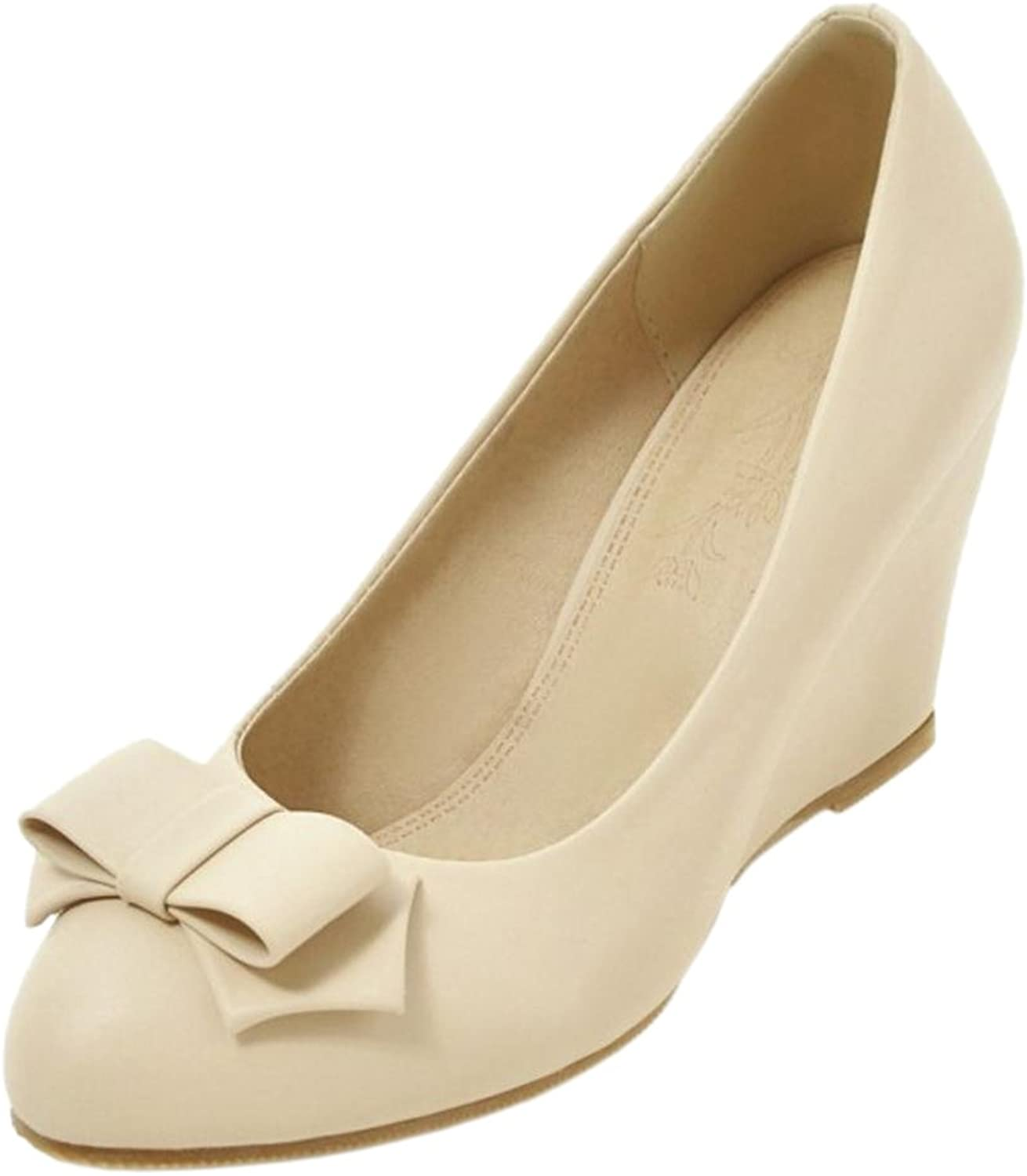 AicciAizzi Women Solid Wedge Heel Pumps Bow