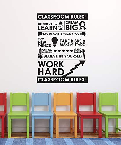 Calcomanía de pared con reglas de salón de clase, color negro para decoración de escuelas, diseño de vinilo para escuela primaria o primaria 879