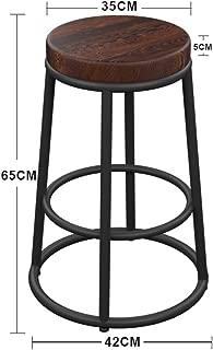 NMDB American Retro Fer forge Bois Tabouret Bar Tabouret Haut Simple Tabouret Bar Bois Massif Fer Gras Taille Cadre  65 75 85cm  Couleur Taille 65CM